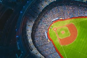 An overhead view of a baseball stadium