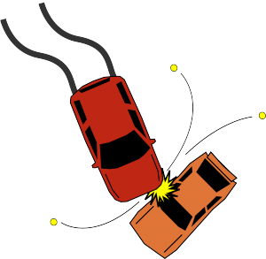 An illustration of two cars colliding