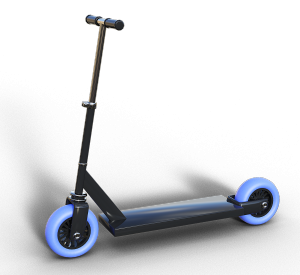A scooter with blue wheels