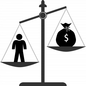 Scales of justice with money on one side and a person on the other