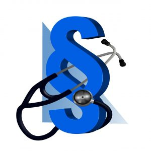 section symbol intertwined with a stethoscope