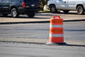 traffic safety barrel in street
