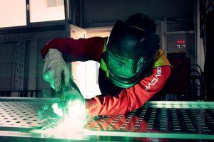 a welder welding