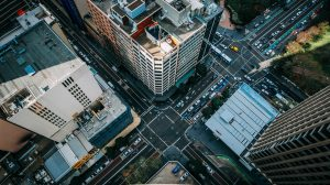 Aerial view of a busy intersection